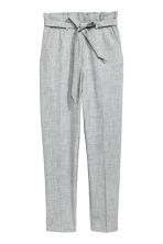 Paper bag trousers - Light grey marl - Ladies | H&M 1