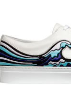 Leather trainers - White/Waves - Men | H&M CN 4