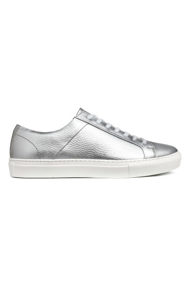 Leather trainers - Silver-coloured - Men | H&M IE