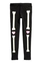 Printed jersey leggings - Black/Skeleton -  | H&M 2