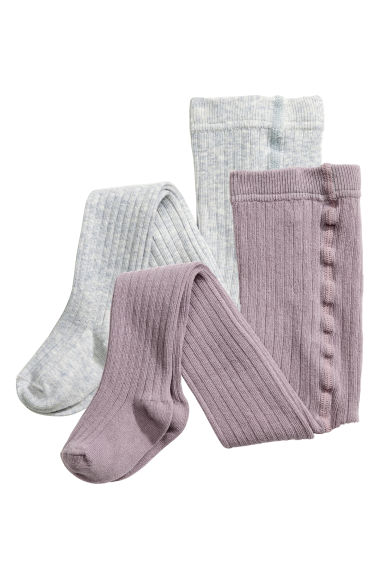 2-pack tights - Heather purple - Kids | H&M 1