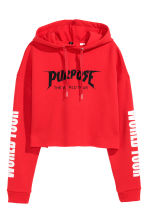 Cropped hooded top - Red/Justin Bieber - Ladies | H&M CN 2
