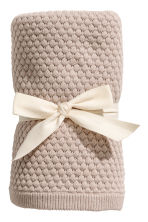 Textured-knit Cotton Blanket - Light taupe - Kids | H&M CA 1