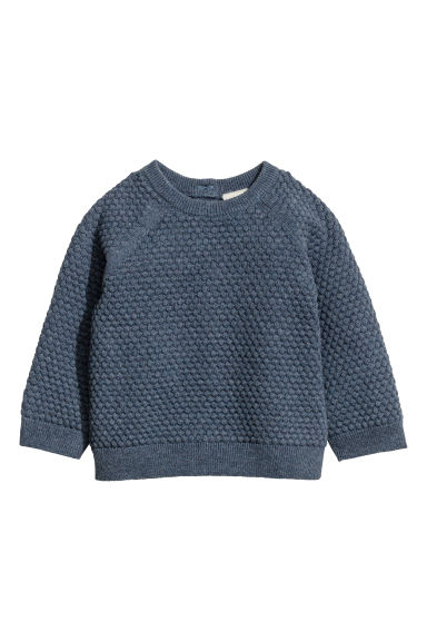 Textured-knit jumper - Blue marl -  | H&M 1