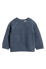 Textured-knit jumper - Blue marl - Kids | H&M 1