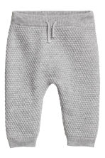 Textured-knit trousers - Grey marl -  | H&M 1