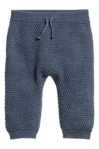 Textured-knit trousers - Blue marl -  | H&M 1