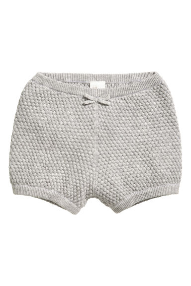 Textured-knit cotton shorts - Grey marl - Kids | H&M
