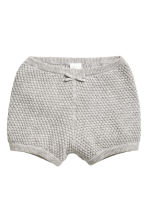 Textured-knit cotton shorts - Grey marl - Kids | H&M CN 1