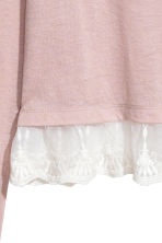 Lace-hem top - Light powder pink - Ladies | H&M CN 3