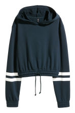 Cropped hooded top - Dark blue - Ladies | H&M 2