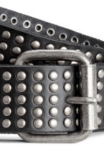 Studded leather belt - Black - Men | H&M 2