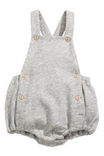 Cotton dungaree shorts - Grey marl - Kids | H&M 1