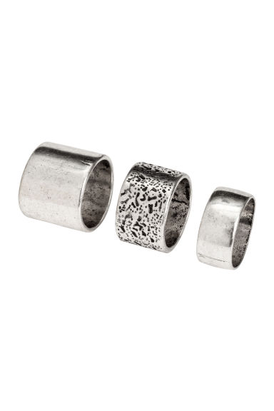3-pack rings - Silver-coloured - Men | H&M 1