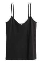 Strappy V-neck jersey top - Black - Ladies | H&M 2