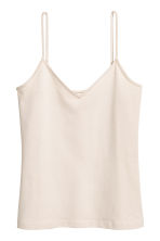 Strappy V-neck jersey top - Light beige - Ladies | H&M 2