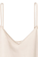 Strappy V-neck jersey top - Light beige - Ladies | H&M 3