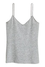 Strappy V-neck jersey top - Grey marl - Ladies | H&M CN 2