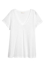 Slub jersey V-neck top - White - Ladies | H&M CN 2