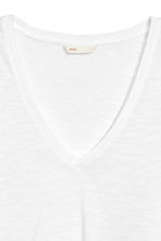 Slub jersey V-neck top - White - Ladies | H&M CN 3