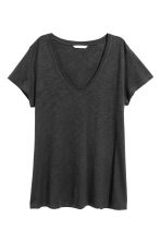 Slub jersey V-neck top - Black - Ladies | H&M 2