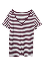V-neck Top - Burgundy/striped -  | H&M CA 2