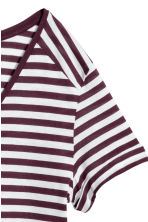V-neck Top - Burgundy/striped -  | H&M CA 3