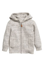 Knitted hooded jacket - Light grey marl -  | H&M 2