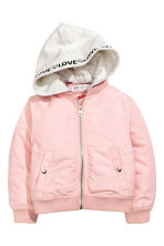 Hooded bomber jacket - Light pink - Kids | H&M CN 2