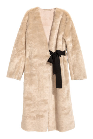 Faux fur coat - Beige - Ladies | H&M CN