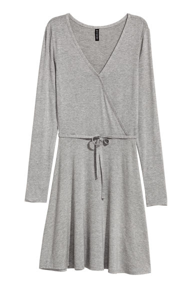 Robe à encolure en V - Gris chiné -  | H&M FR