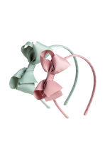 2-pack Alice bands with a bow - Light pink/Dusky green - Kids | H&M CN 1