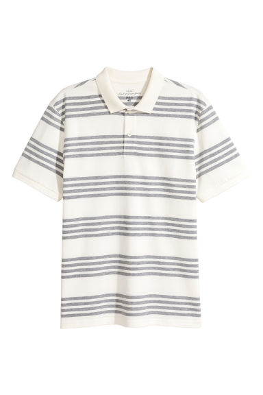 Polo shirt - White/Striped - Men | H&M CN 1