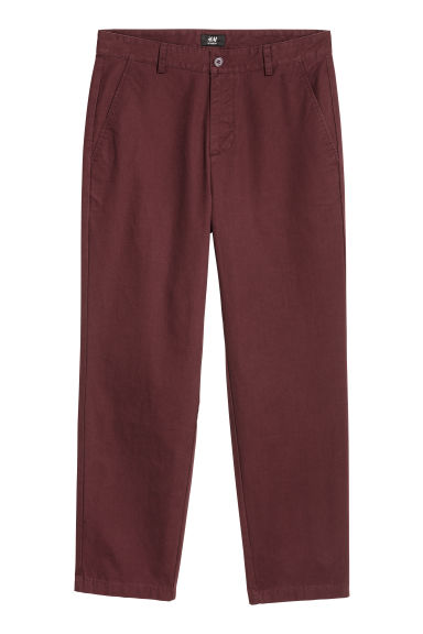 Relaxed chinos - Burgundy - Men | H&M
