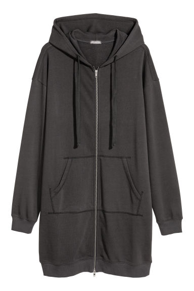 Long hooded jacket - Black - Men | H&M