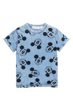 Washed-look T-shirt - Blue/Mickey Mouse -  | H&M 1