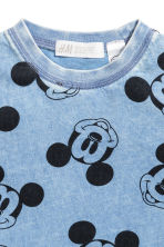 Washed-look T-shirt - Blue/Mickey Mouse -  | H&M 2