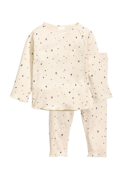 棉質上衣和長褲 - Natural white/Stars - Kids | H&M