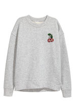 Sweatshirt with Appliqué - Light gray melange - Ladies | H&M CA 2