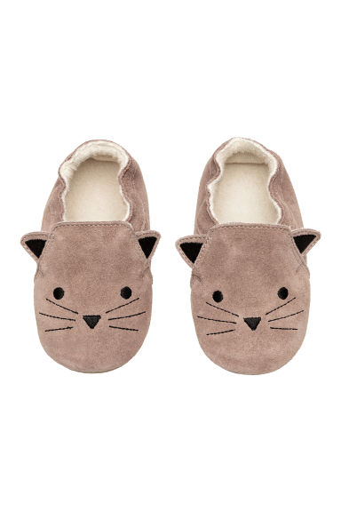 Suede slippers - Light mole/Cat - Kids | H&M GB