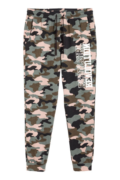 Patterned sweatpants - Khaki green/Patterned - Ladies | H&M CN