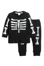 Printed top and trousers - Black/Skeleton - Kids | H&M CN 1