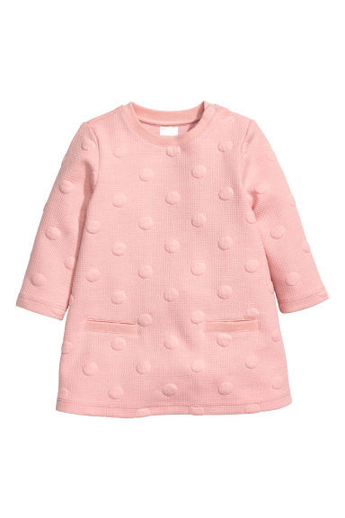 Textured dress - Light pink/Spotted -  | H&M CN 1