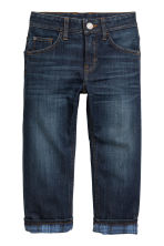 Relaxed fit Lined Jeans - Koyu kot mavisi - Kids | H&M TR 2