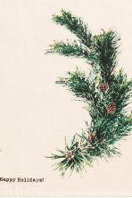 Christmas-print table mat - Natural white/Pine needles - Home All | H&M GB 2