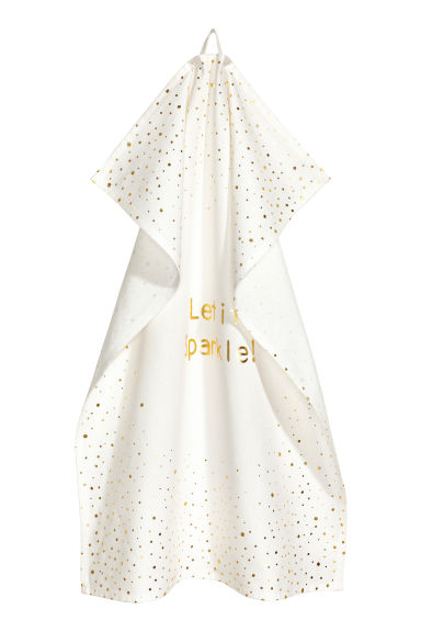 Printed tea towel - White/Gold-coloured -  | H&M IE