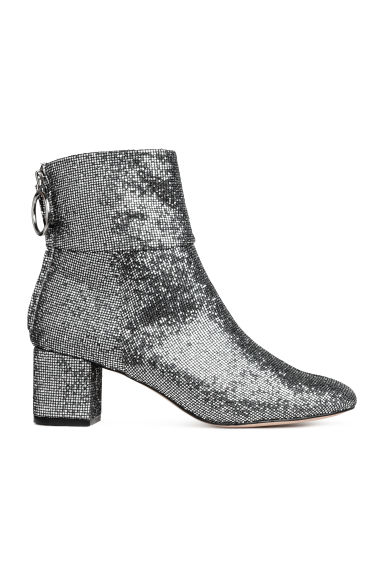 Ankle boots - Silver-coloured/Glittery - Ladies | H&M