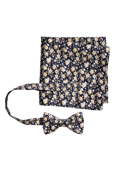 Bow tie and handkerchief - Dark blue/Floral - Men | H&M