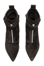Suede kitten-heel boots - Black - Ladies | H&M 2