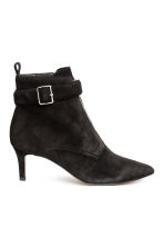 Suede kitten-heel boots - Black - Ladies | H&M 1